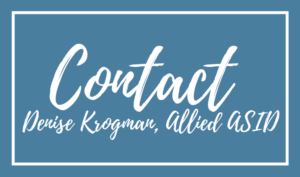 Contact Denise Krogman, Allied ASID blue back white text